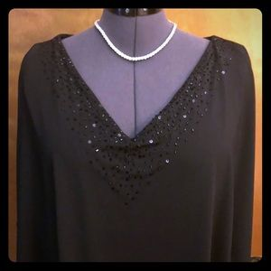Adrianna Papell embellished cape style top.